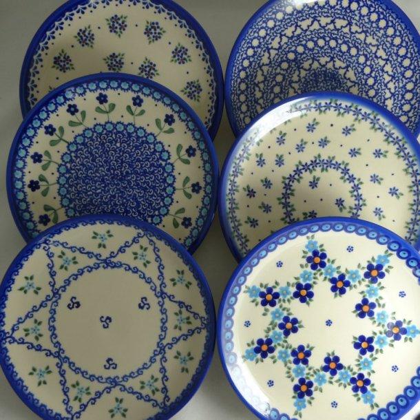 6 blandede Frokost Tallerkener 19 cm. blå nuancer