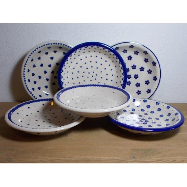 6 blandede dybe tallerkener 22 cm