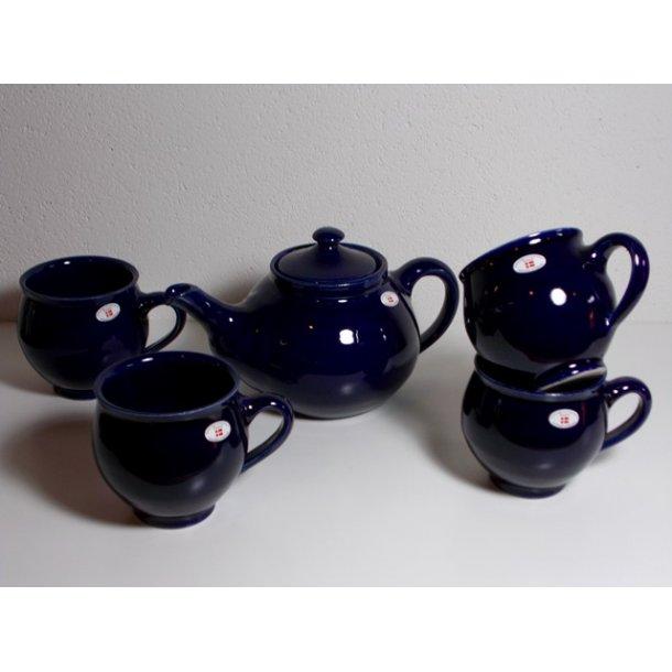 Lille Tekande 1,0 L og 4 krus Art Colour Mørkeblå