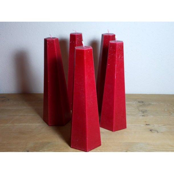 Keglelys rød håndstøbt 23 cm vegetabilsk stearin