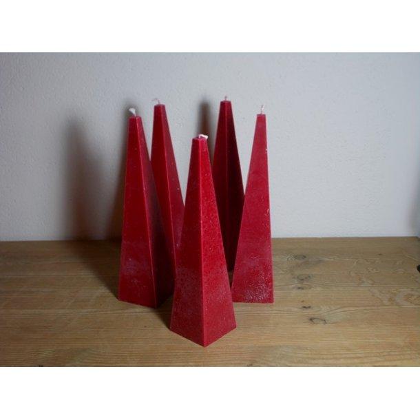 Pyramidelys rød håndstøbt 23 cm vegetabilsk stearin