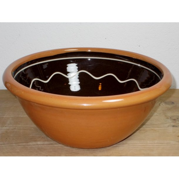 Hånddrejet glasseret dejfad 2 liter brun