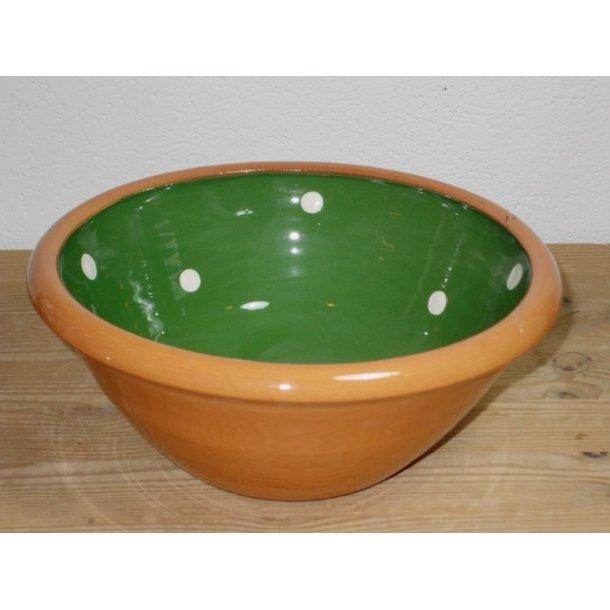 Hånddrejet glasseret dejfad lille grøn med prikker