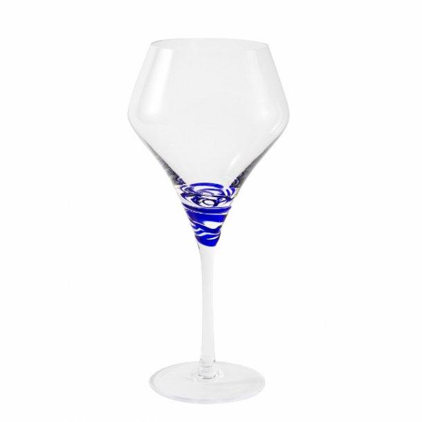 Rødvinsglas mundblæst 35 cl blå spiral