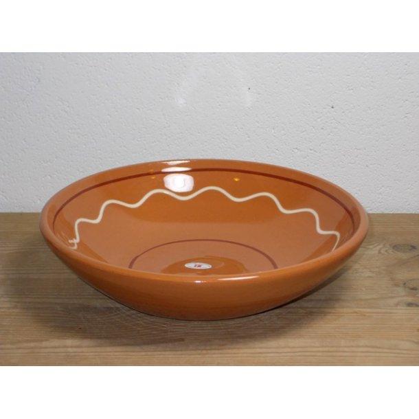 Hånddrejet skål/dyb tallerken i lertøj glasseret brun