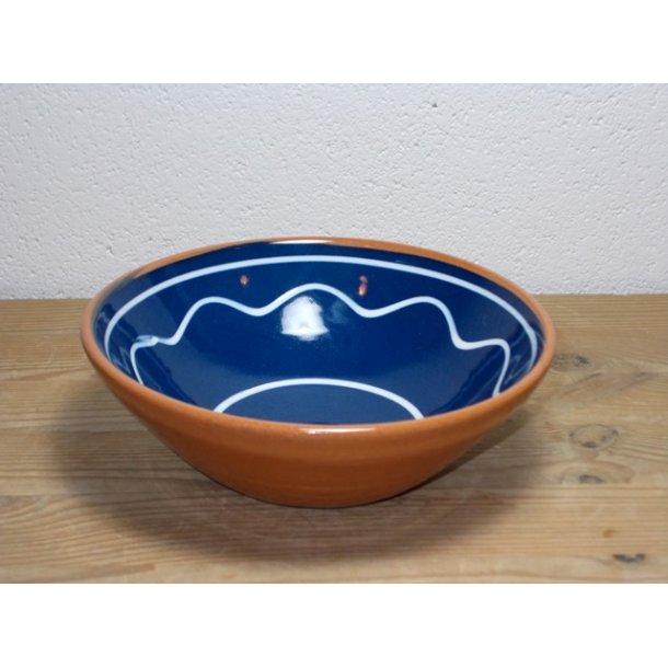 Hånddrejet dessertskål i lertøj blå