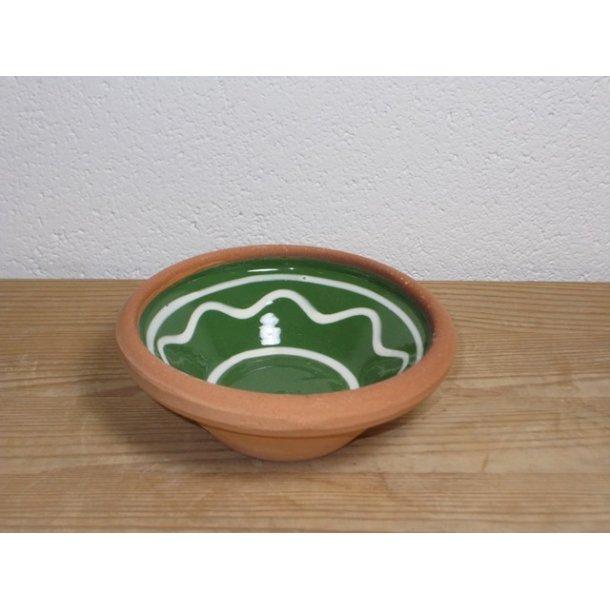 Hånddrejet lille skål i lertøj grøn h 4 cm dia 11 cm
