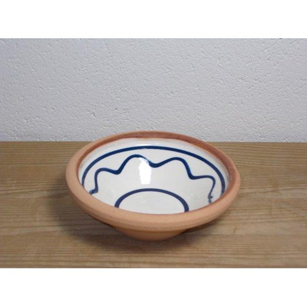 Hånddrejet lille skål i lertøj hvidt med sorte streger h 4 cm dia 11 cm
