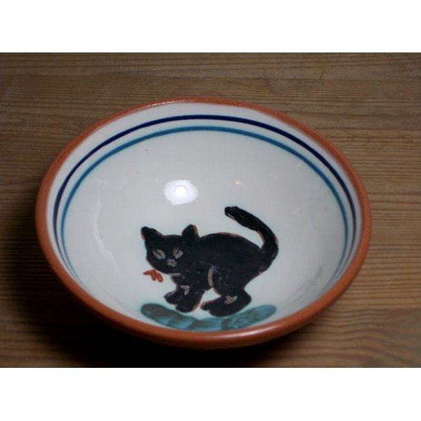 Hånddrejet dessertskål i lertøj kattemotiv
