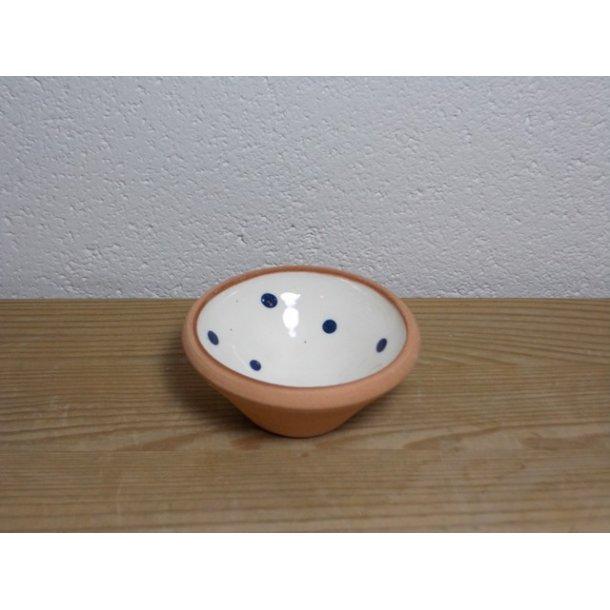 Hånddrejet mini skål i lertøj hvid med prikker h 3 cm dia 7 cm