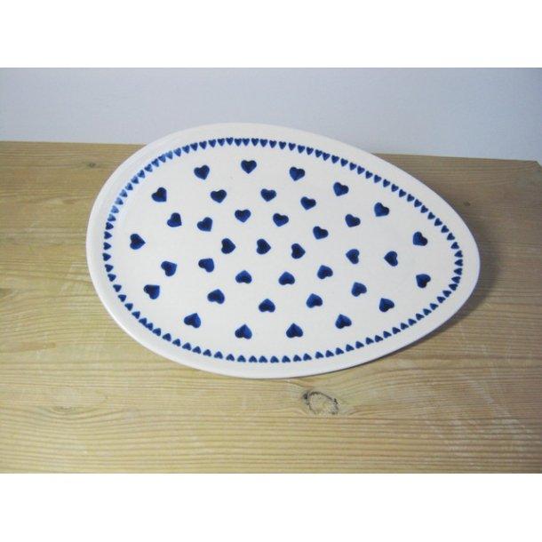 Håndmalet oval fad/tallerken 25 cm. - Nostalgi 10