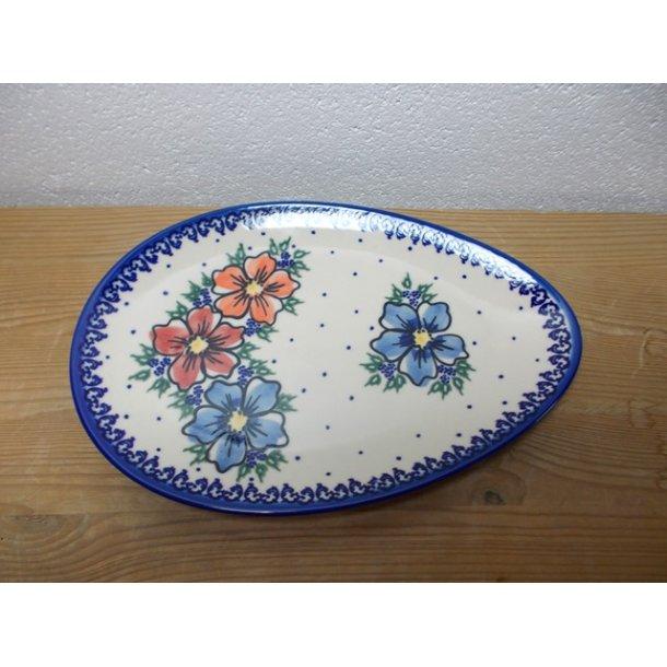 Håndmalet oval fad/tallerken 25 cm. - Unika 89