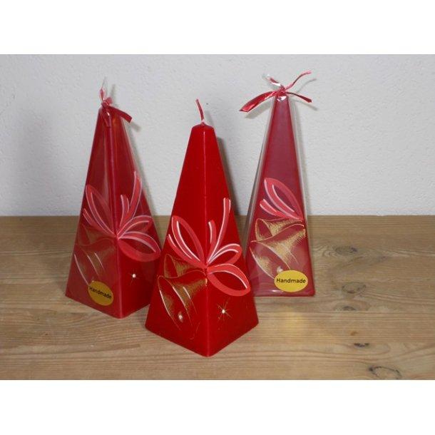 Hånddekoreret pyramidelys Julemotiv 15 cm