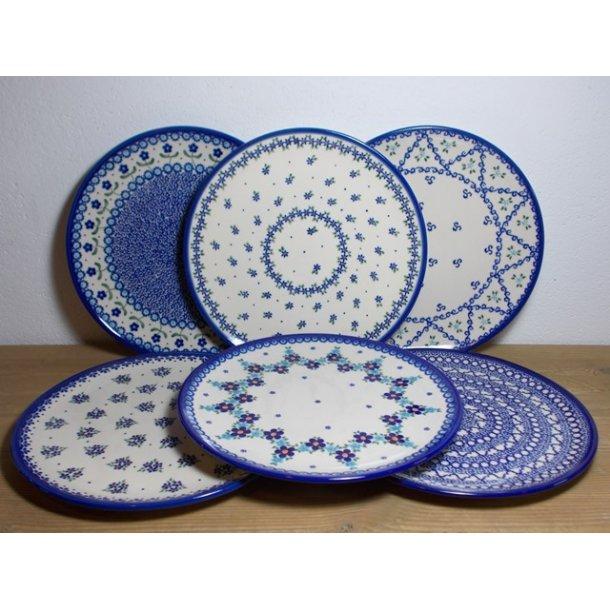 6 blandede Spise Tallerkener 28 cm. blå nuancer